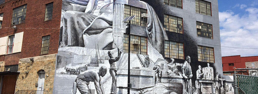 DC graffiti mural - Honoring The Workers Who Built The Lincoln Memorial Statue